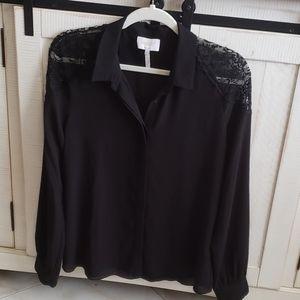 Laundry by Shelli Segal - Black Lace Trim Blouse